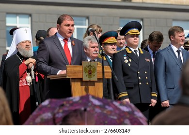 Orel, Russia - May 09, 2015: Celebration of the 70th anniversary of the Victory Day (WWII). Orel governor Vadim Potomsky speaking from tribune