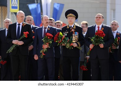 Orel, Russia - May 9, 2016: Celebration of 71th anniversary of the Victory Day (WWII). Vadim Potomsky, Leonid Muzalevsky, Nikolay Kovalev and other members of Orel Administration with flowers