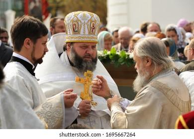 Orel, Russia - September 13, 2015: Orthodox Church Family Day. Divine service in Russian Orthodox church in Orel closeup