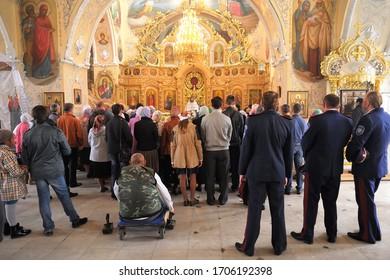 Orel, Russia - September 13, 2015: Orthodox Church Family Day. Divine service in Russian orthodox Bogoyavlenskaya church in Orel horizontal
