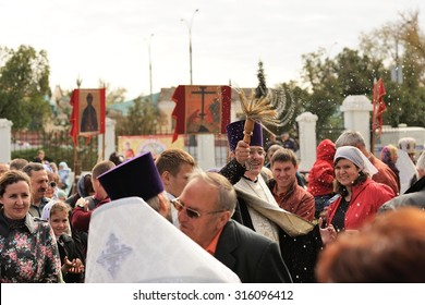 Orel, Russia - September 13, 2015: Orthodox Church Family Day. ?hurch service with holy water