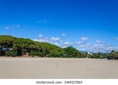 Oren Beach Panoramic view. Burhaniye district popular touristic destination a summer day. Summer beach landscape. Balikesir Turkey