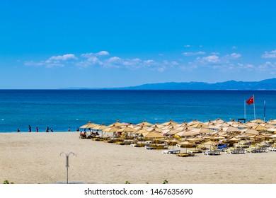 Oren, Burhaniye, Balikesir / Turkey - July 12 2019: Burhaniye district popular touristic Oren Beach Panoramic view a summer day