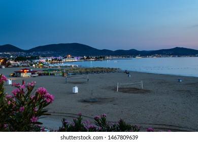 Oren, Burhaniye, Balikesir / Turkey - July 12 2019: Burhaniye district popular touristic Oren Beach Panoramic view at night