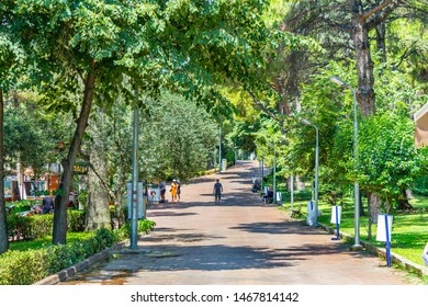 Oren, Burhaniye, Balikesir / Turkey - July 12 2019: Burhaniye district popular touristic destination Oren district center walking path