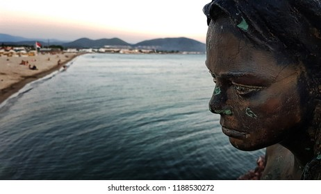 Oren, Turkey - August 19, 2018; Mermaid statue on Oren (Balikesir) public beach