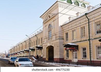 Orenburg Gostiny Dvor in winter. Gate. Russia. 23.02.2013