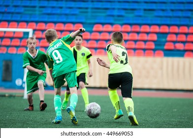 "Orenburg, Russia - 1 June 2016: The boys play football in the preliminary games football festival ""Lokobol-2016"""