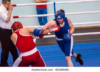 Orenburg, Russia - 1 may 2015: Fight boxers on All-Russian tournament in boxing among Juniors 1997-98 born in memory of Lieutenant Colonel of militia who died tragically A.T. Kayumova