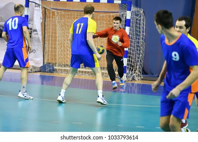 Orenburg, Russia - 11-13 February 2018 year: boys play in handball International handball tournament in memory of the first Governor of Orenburg province Ivan Ivanovich Neplueva