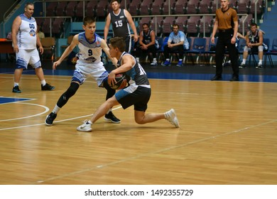 Orenburg, Russia - 13-16 June 2019 year: Men play basketball on Interregional finals of the amateur Basketball League in Volga Federal District