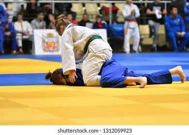 Orenburg, Russia - 21 October 2017: Girls compete in Judo at the all-Russian Judo tournament among boys and girls dedicated to the memory of V. S. Chernomyrdin