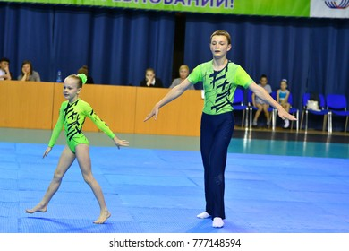 Orenburg, Russia, 26-27 May 2017 years: Juniors compete in sports acrobatics at the Open Championship in sports acrobatics
