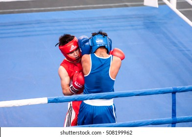 Orenburg, Russia - 28 April 2016: Boys boxers compete the tournament among Juniors the memory of A.T. Kayumova