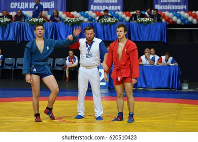 Orenburg, Russia - 29 October 2016: Boys competitions Sambo in the Championship of Russia in Sambo among boys and girls born 2000-2001 biennium of birth