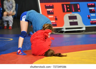 Orenburg, Russia - 29 October 2016: Girls compete in Sambo in the Championship of Russia in Sambo among boys and girls born 2000-2001 biennium of birth