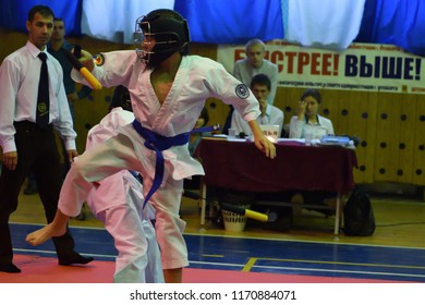 Orenburg, Russia - 30 October 2016: Boys compete on nunchaku in the Championship and city Championship on Kobudo