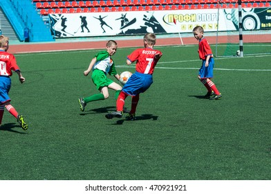 """Orenburg, Russia - 31 May 2015: The boys play football at the competition """"Lokobol-2015""""."""