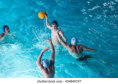 Orenburg, Russia - 7 May 2015: The boys play in water polo on City tournament