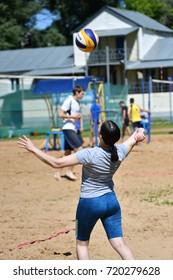 Orenburg, Russia, 9-10 June 2017 year: Girl playing beach volleyball on City tournament Beach Volleyball
