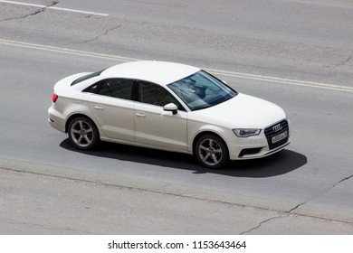 Orenburg, Russia - August 10,2018: Audi A3 sedan rides on the road