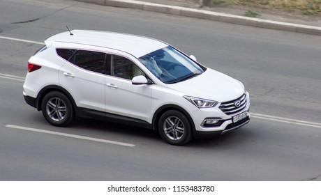 Orenburg, Russia - August 10,2018: Hyundai Santa Fe rides on the road