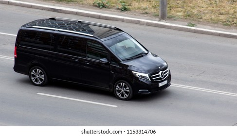 Orenburg, Russia - August 10,2018: Mercedes V-class rides on the street