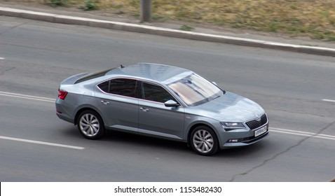 Orenburg, Russia - August 10,2018: Skoda Superb rides on the road