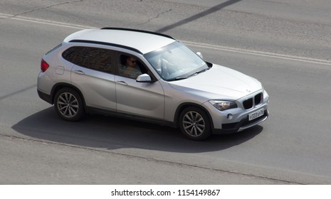 Orenburg, Russia - August 11,2018: BMW X1 rides on the road