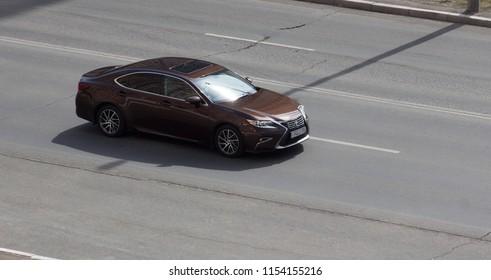 Orenburg, Russia - August 11,2018: Lexus LS rides on the road