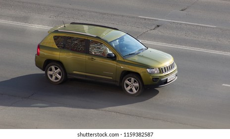 Orenburg, Russia - August 17,2018: Jeep Compass rides on the road