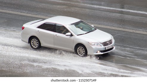 Orenburg, Russia - August 8,2018: Toyota Camry  rides on the road