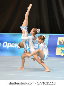 Orenburg, Russia, December 14, 2017 year: girl compete in sports acrobatics at the Open Championship in sports acrobatics