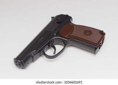 Orenburg, Russia - February  26, 2018: Pneumatic pistol PM on a white background