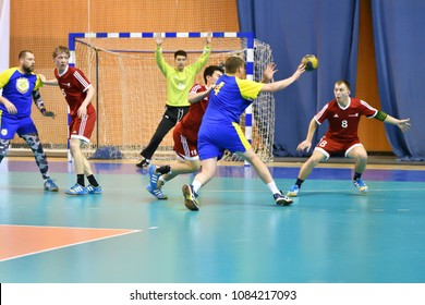 Orenburg, Russia - February13, 2018 year: boys play in handball International handball tournament in memory of the first Governor of Orenburg province Ivan Ivanovich Neplueva
