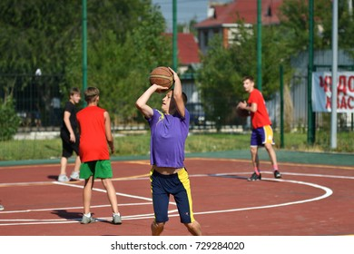 Orenburg, Russia - July 30, 2017  men play Street Basketball in the second round of the summer Street Basketball League