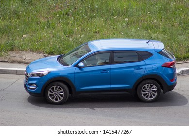 Orenburg, Russia - June 01,2019: Hyundai Santa Fe rides on the road
