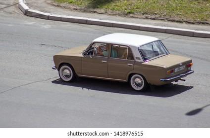 Orenburg, Russia - June 08,2019: Lada 2101 rides on the road