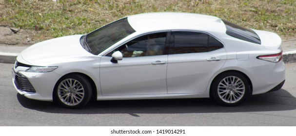 Orenburg, Russia - June 08,2019: Toyota Camry rides on the road