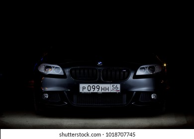 Orenburg, Russia - March  29, 2015: BMW 535d black in the dark