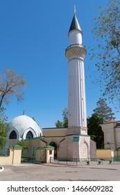 Orenburg, Russia - May, 25, 2019: Muslim mosque with minaret. Caravanserai, a monument of architecture, a historic building
