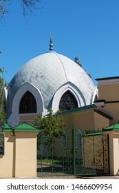 Orenburg, Russia - May, 25, 2019: Muslim mosque. Caravanserai, a monument of architecture, a historic building