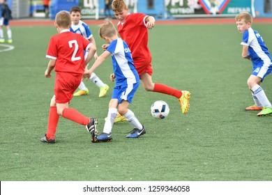 "Orenburg, Russia - May 28, 2017 year: The boys play football in the preliminary games football festival ""Lokobol-2017"""