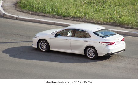 Orenburg, Russia - May 31,2019: Toyota Camry rides on the road