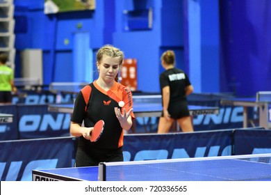 Orenburg, Russia - September 15, 2017 year: girl playing ping pong Orenburg region Championships in table tennis among athletes born in 1996 and younger