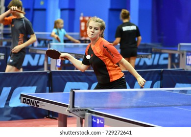 Orenburg, Russia - September 15, 2017  girl playing ping pong Orenburg region Championships in table tennis among athletes born in 1996 and younger