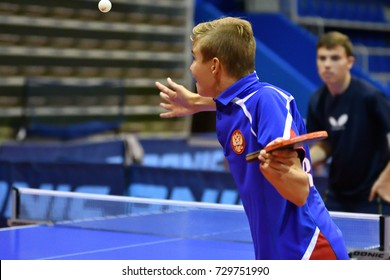 Orenburg, Russia - September 15, 2017: Boys playing ping pong Orenburg region Championships in table tennis among athletes born in 1996 and younger