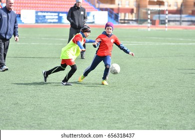 Orenburg, Russia-April 26, 2017 year: the boys play football on Cup Mayor Orenburg Futsal Championship among teams of boys born in 2006-2007