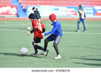 Orenburg, Russia-April 26, 2017 year: the boys play football on Cup Mayor Orenburg Futsal Championship among teams of boys born in 2006-2007