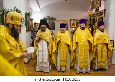 Orenburg, Russian Federation-5 Dec 2018. Orthodox priests at the Liturgy in the Church